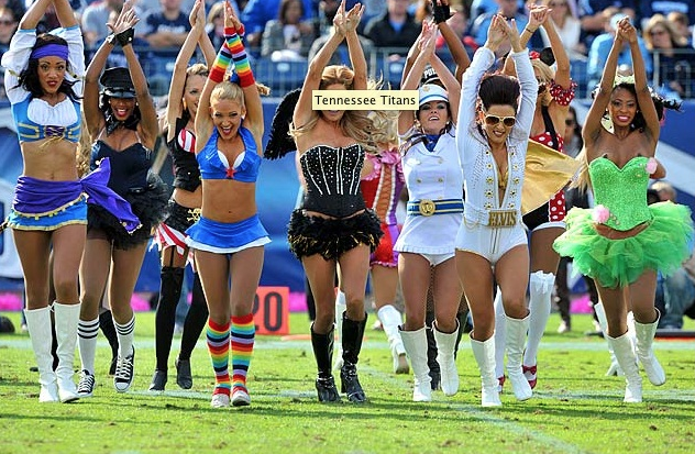 SI.com posted this picture of NFL cheerleaders in costume on their